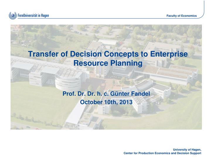 transfer of decision concepts to enterprise resource planning n.