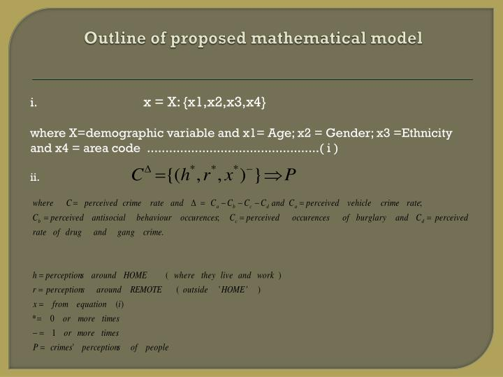 Outline of proposed mathematical model