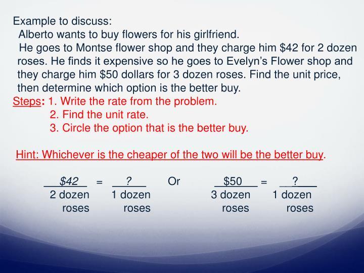 Example to discuss: