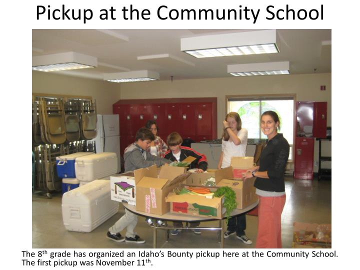 Pickup at the Community School