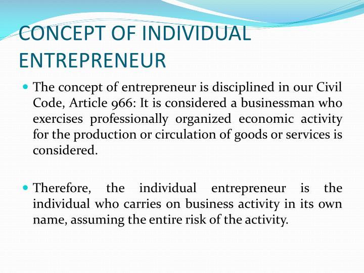 Concept of individual entrepreneur