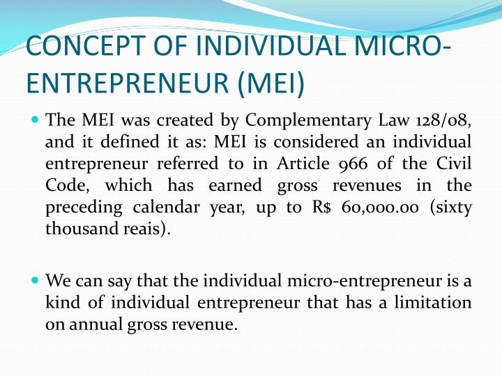 CONCEPT OF INDIVIDUAL MICRO-ENTREPRENEUR