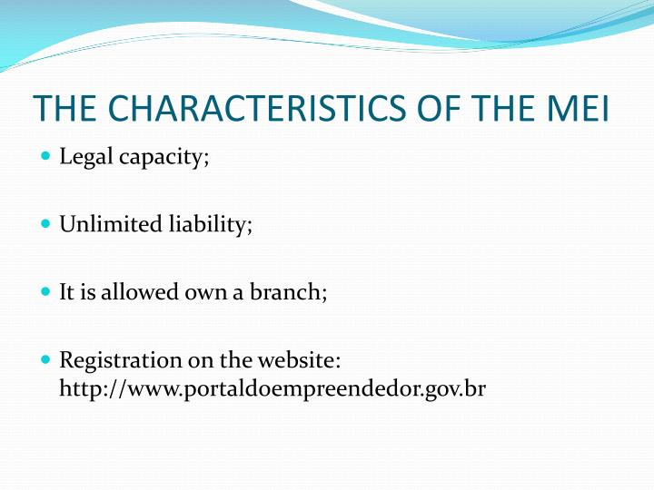 THE CHARACTERISTICS OF THE MEI