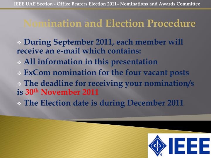 Nomination and Election Procedure