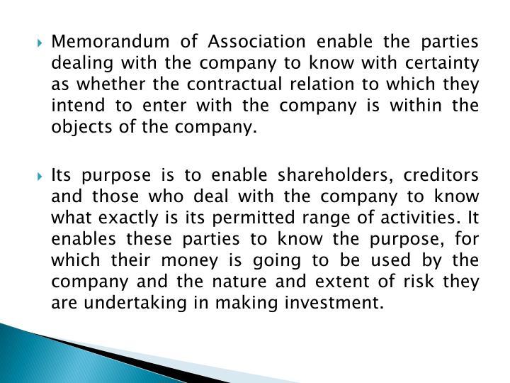 significance of memorandum of association