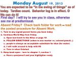 monday august 19 2013