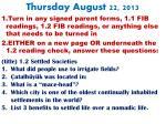thursday august 22 2013