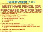 tuesday august 19 2013