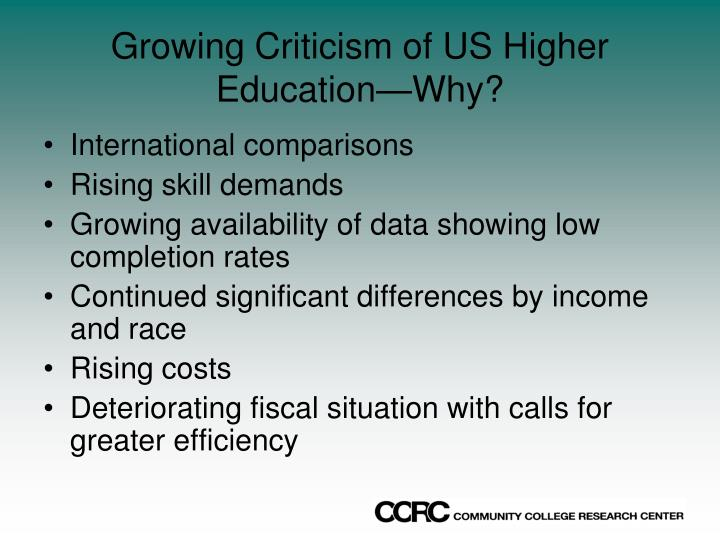 Growing criticism of us higher education why