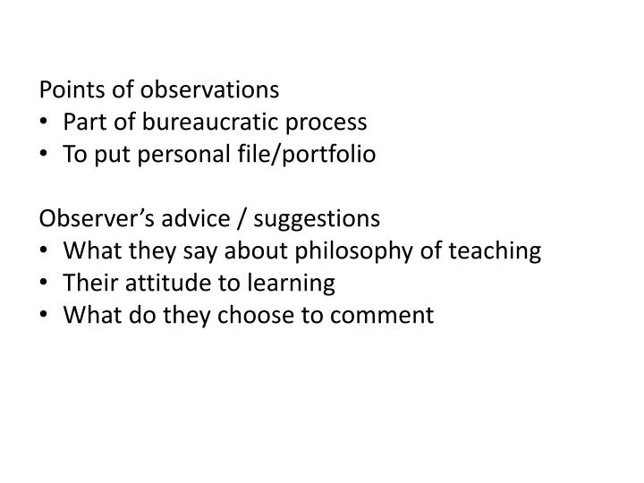 Points of observations