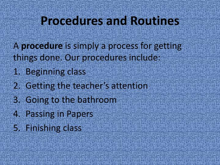 Procedures and Routines