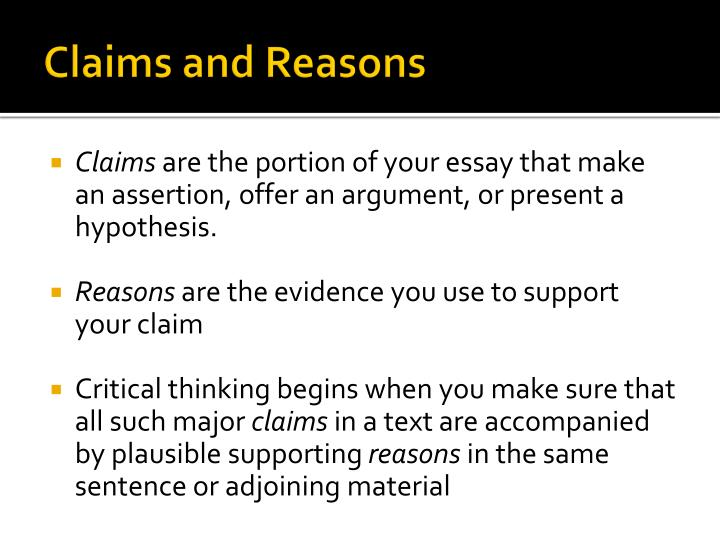 Claims and Reasons