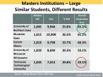 masters institutions large similar students different results