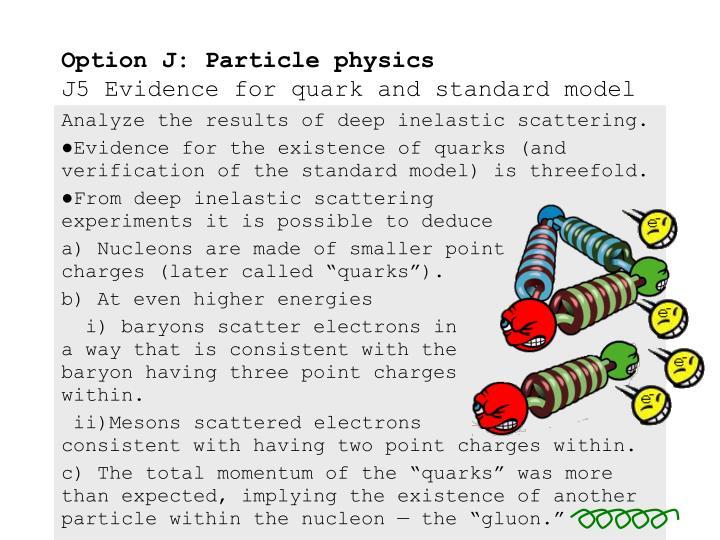 Option j particle physics j5 evidence for quark and standard model2