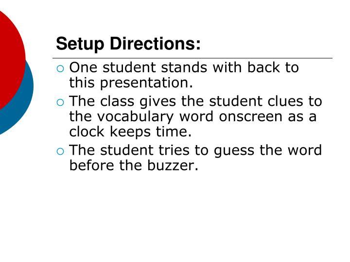 Setup directions