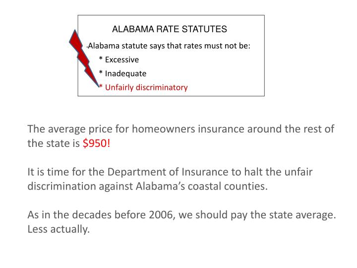 Alabama statute says that rates must not be: