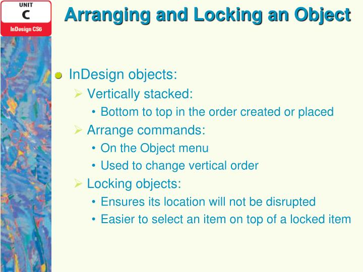 Arranging and Locking an Object