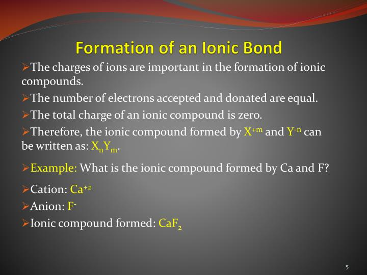 formation of an ionic compound The main significance of the ionic bonds are:-=most of the organic compounds are synthesized due to presence of ionic bonds by this type of bonding it is now easier to know their interactions to produce specific compounds.