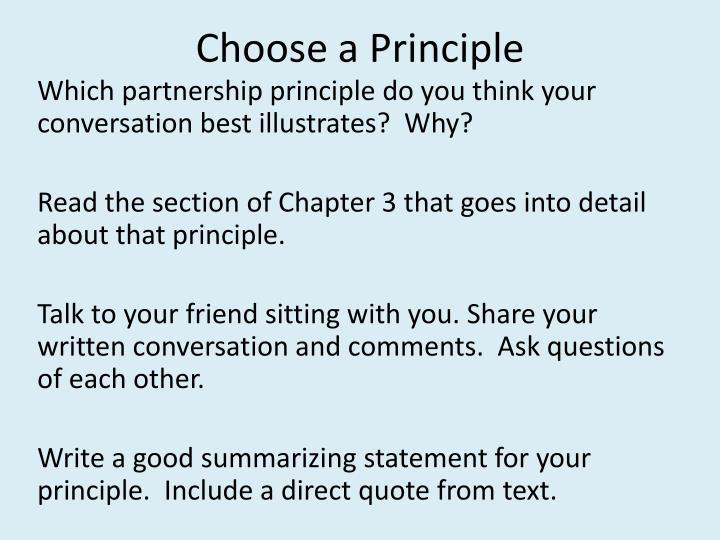 Choose a Principle