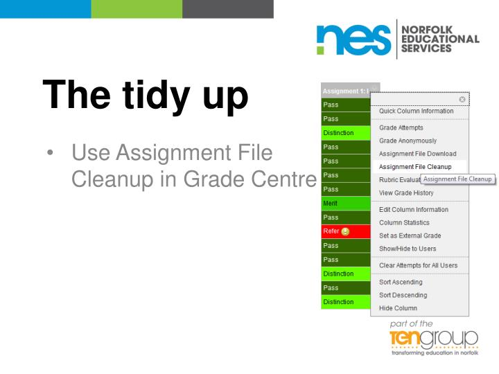 The tidy up