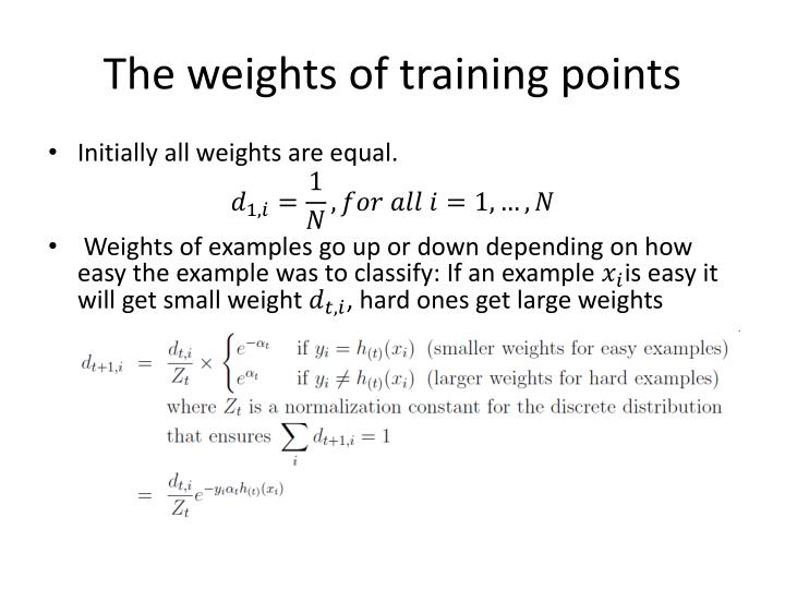 The weights of training points