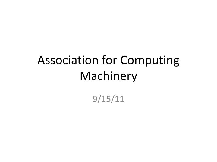 association for computing machinery n.