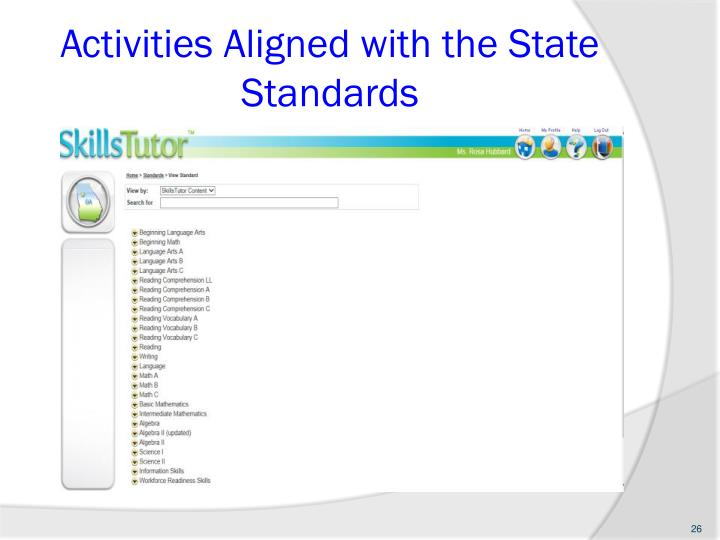 Activities Aligned with the State