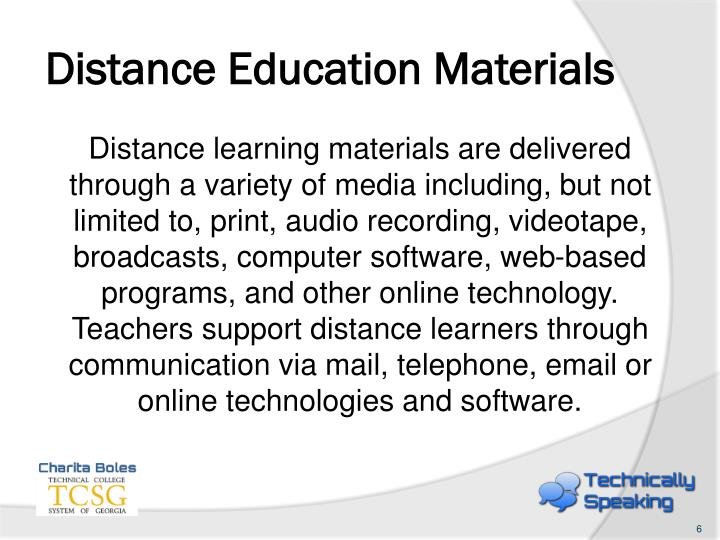 Distance Education Materials