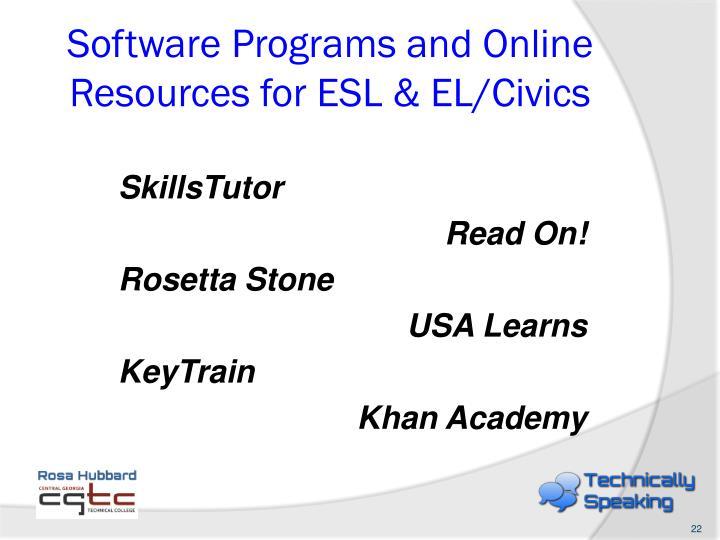Software Programs and Online Resources for ESL & EL/Civics