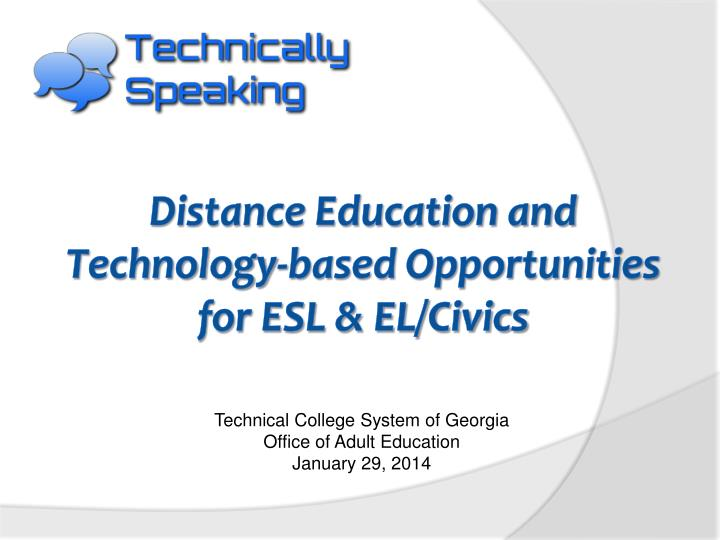 Technical college system of georgia office of adult education january 29 2014