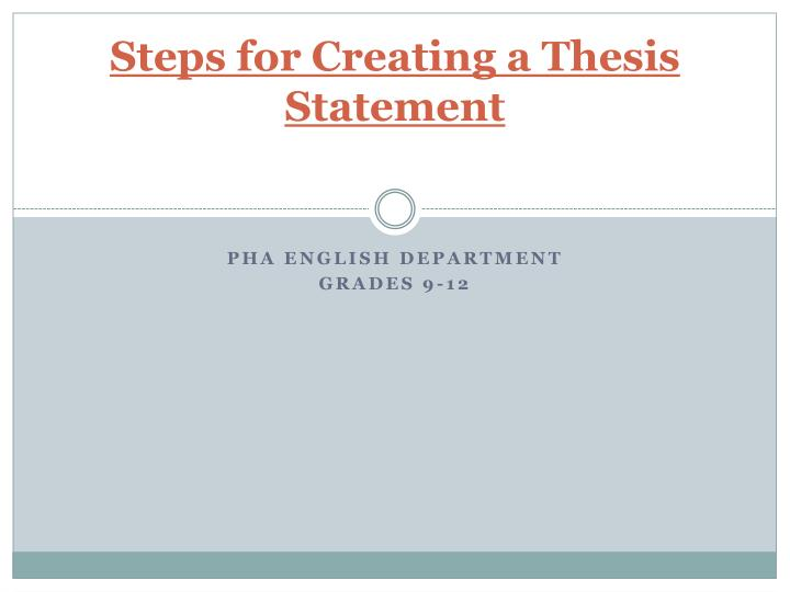 steps for creating a thesis statement n.