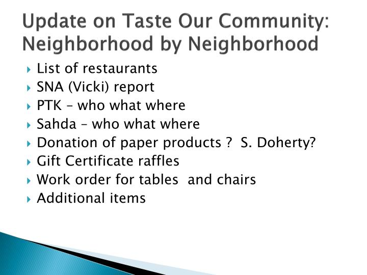 Update on Taste Our Community: Neighborhood by Neighborhood