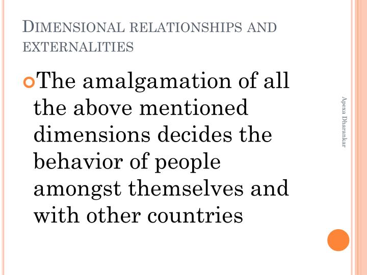 Dimensional relationships and externalities