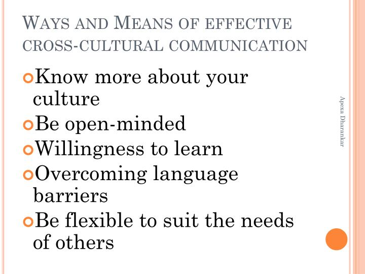 Ways and Means of effective cross-cultural