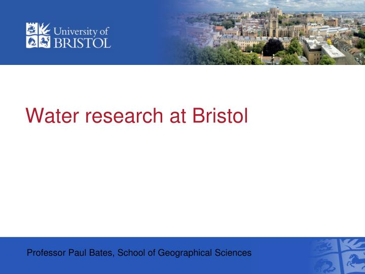 Water research at bristol