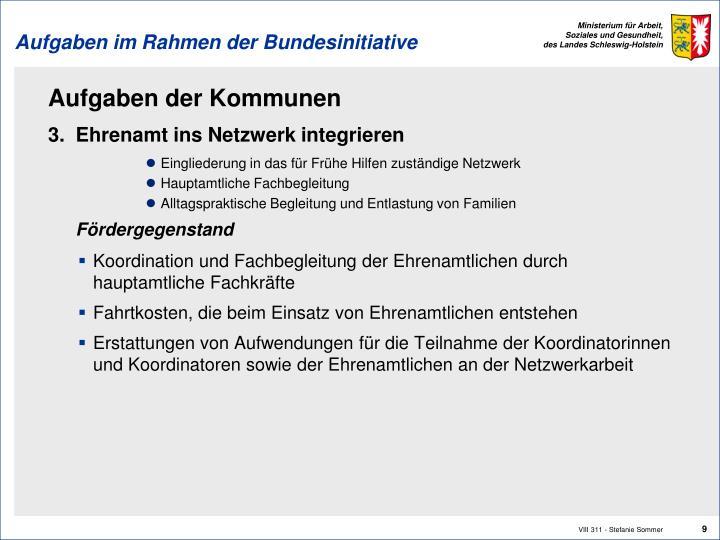 Aufgaben im Rahmen der Bundesinitiative