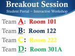 breakout session student portal interactive workshop