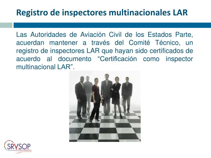Registro de inspectores multinacionales LAR