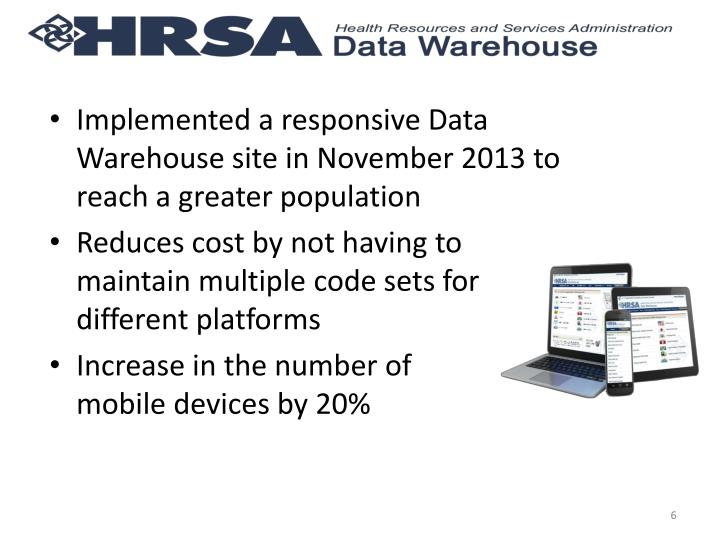 Implemented a responsive Data Warehouse site in November 2013 to reach a greater population
