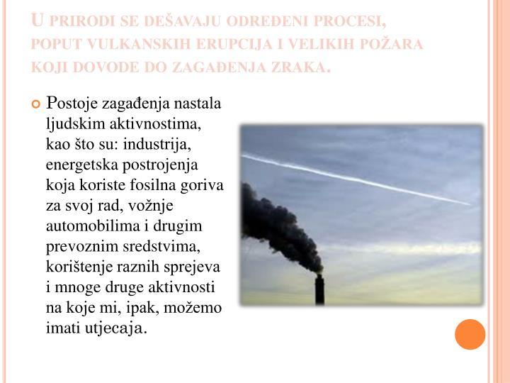U prirodi se dešavaju određeni procesi, poput vulkanskih erupcija i velikih požara koji dovode do zagađenja zraka