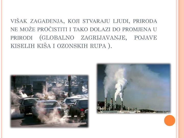 višak zagađenja, koji stvaraju ljudi, priroda ne može pr