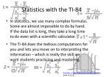 statistics with the ti 84