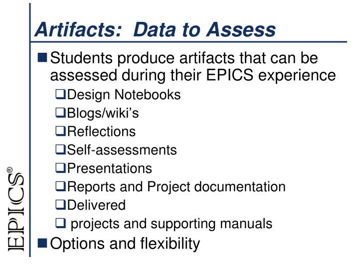 Artifacts:  Data to Assess
