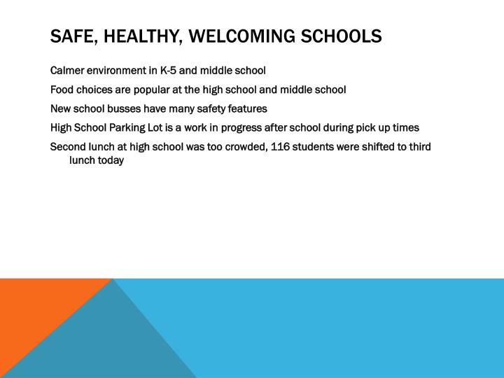 Safe healthy welcoming schools