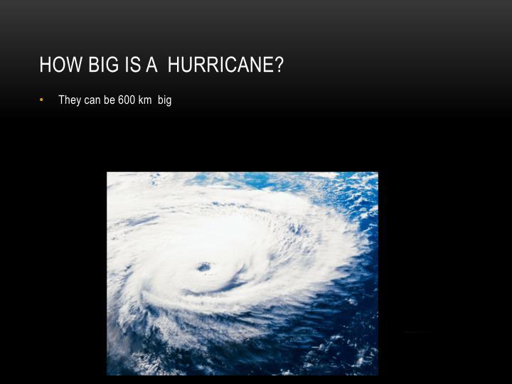 How big is a  hurricane?