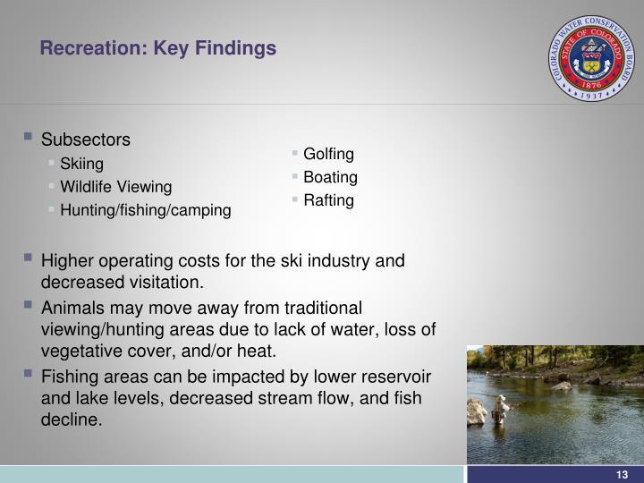 Recreation: Key Findings