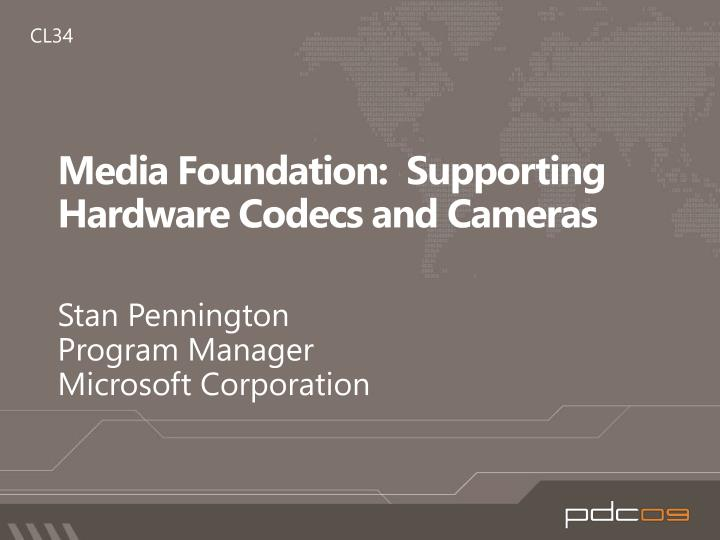 media foundation supporting hardware codecs and cameras n.