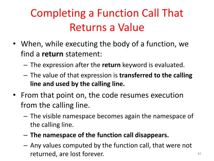 Completing a Function Call That Returns a Value