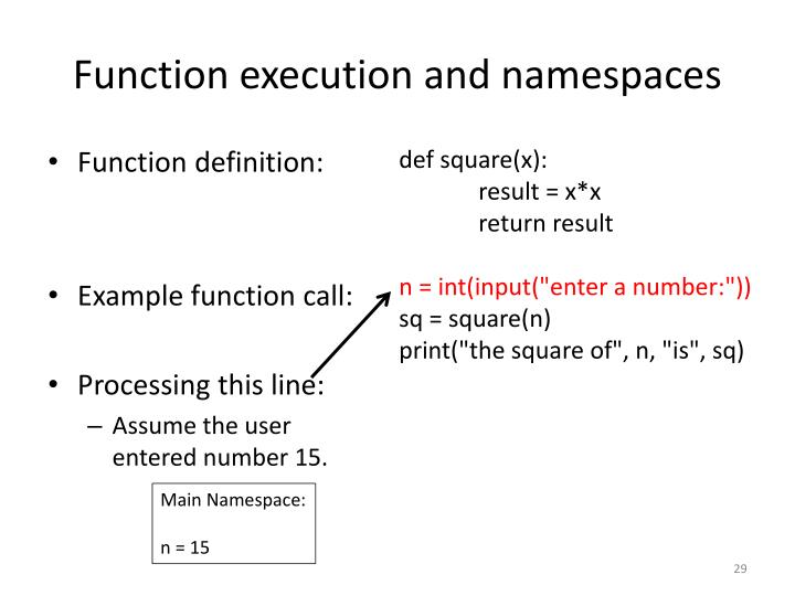 Function execution and namespaces