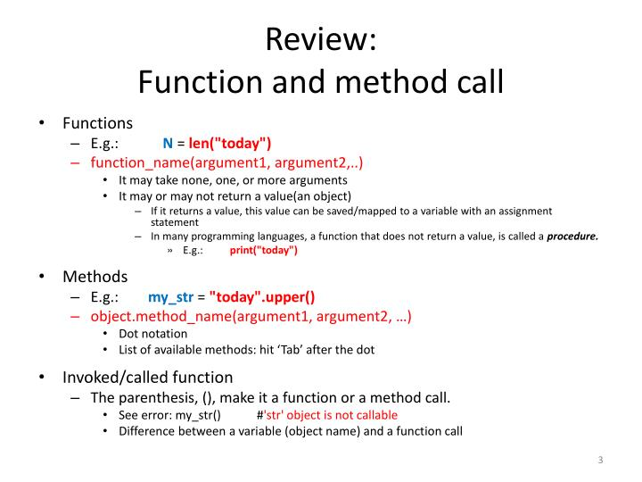 Review function and method call